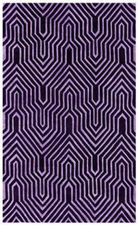 Rugs - Intervals Purple Handmade Rug | LampsPlus.com - rug, black, purple