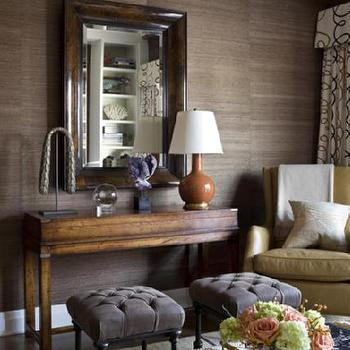 Philip Gorrivan Design - living rooms - grasscloth wallpaper, grasscloth, brown grasscloth, brown grasscloth wallpaper, beveled mirror, beveled wood mirror, wood beveled mirror, brown velvet ottomans, brown tufted ottomans, orange lamp, pumpkin orange lamp, orange gourd lamp,