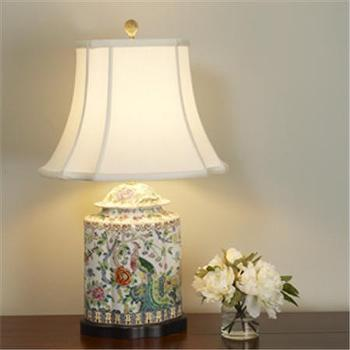 Lighting - Peacock Porcelain Table Lamp - Shades of Light - lamp, oriental, floral, peacock, porcelain
