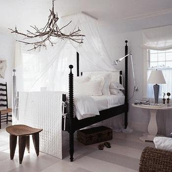 Traditional Home - bedrooms - tree branch chandelier, branch chandelier, tree branch lighting, branch lighting, tree branch pendant, branch pendant, painted floors, striped floors, striped painted floors, painted striped floors, bed canopy sheer bed canopy,