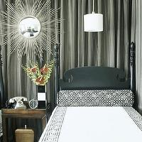 Traditional Home - bedrooms - curtains behind bed, curtains behind headboard, drapes behind headboard, drapes, behind bed, drapes, greek key bedding, black and white bedding, twin headboard, silver sunburst mirror,
