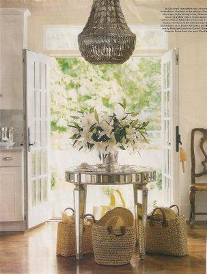 entrances/foyers - chandelier, foyer, mirrored, round, table, french doors,  a great mix