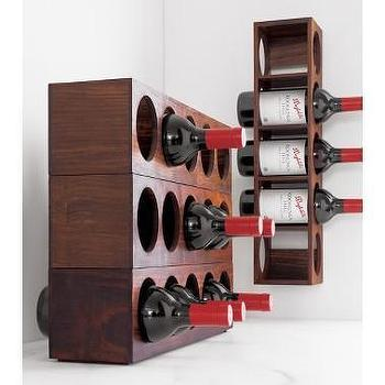 Decor/Accessories - Crate and Barrel - Shesham Wall Mount-Stacking Wine Rack shopping in Crate and Barrel Kitchen and Food - sustainable wood, wine rack, wall art
