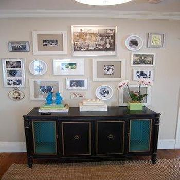 Erin Gates Design - entrances/foyers - bamboo sideboard, faux bamboo sideboard, black bamboos sideboard, turquoise foo dogs,  so pretty and interesting.