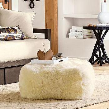 Seating - Sheepskin Pouf | west elm - pouf, sheepskin, floor pillow