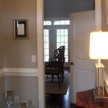 entrances/foyers - chair rail, beige walls, beige paint, beige paint color,  neutral  recycled glass jars, chair rail and warm gray walls paint