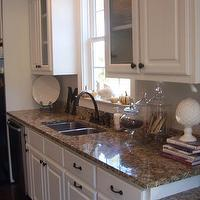 kitchens - Santa Cecilia granite, Lowes drawer pulls and knobs, T.J. Maxx apocathary jars, white, cabinets, santa cecilia granite counters, santa cecilia granite countertops, brown granite counters, brown granite countertops, brown and gold granite,