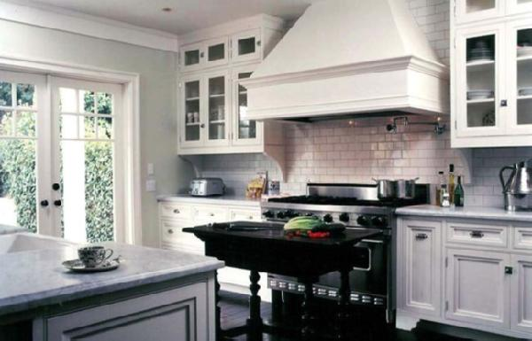 Suzie: Traditional Home  Lovely white cottage kitchen design with glass front white kitchen ...