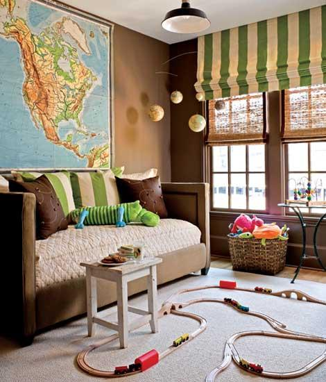 boy's rooms - Benjamin Moore - Rustic Taupe - brown taupe velvet nailhead trim. settee sofa world map globe mobile black pendant light bamboo roman shades ivory green striped roman shade brown taupe walls paint color boy's room playroom
