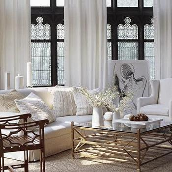 Traditional Home - living rooms - coffee table, brass coffee table, brass and glass coffee table, brass glass coffee table, tiered coffee table, white wing backchair,
