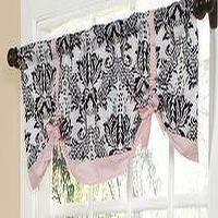 Window Treatments - Sophia Valance�? ::�? Toile�? ::�? Baby Girl Crib Bedding�? ::�? Crib Bedding�? ::�? Home - valence, black, pink, damask, bow