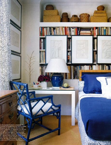 sofrigginsweet: Elle Decor  blue faux bamboo chair, white desk, art, baskets, blue porcelain lamp and ...