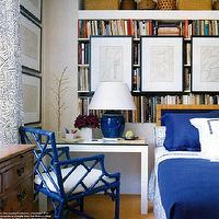 Elle Decor - bedrooms - bedroom, Chinese, Chippendale, faux bamboo, blue, chairs, blue, lamp, blue, bedding, bamboo chairs, blue bamboo chair, faux bamboo chair, blue faux bamboo chairs,