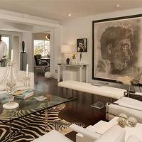 living rooms - barcelona coffee table, glass top coffee table, white bench zebra cowhide rug, Barcelona Coffee Table,  Black and white modern