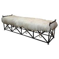 Seating - Pascal Boyer Gallery - Maison Jansen - Jansen Bench In Lambskin - 1stdibs - bench, jansen, black, sheepskin