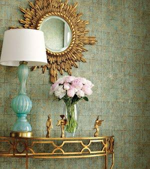 Thibaut Design - entrances/foyers - entrance, foyer, sunburst mirror, gold sunburst mirror, turquoise lamp, turquoise table lamp, turquoise blue lamp, fold half moon table, gold demilune tables, brass half moon table, brass demilune table,