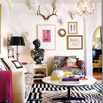 Gary Spain Design - living rooms - striped rug, black and white striped rug, black and white rug, damask chair, black and white chair, black and white damask chair, layered rugs, zebra cowhide rug, Ikea Stockholm Rand Rug,