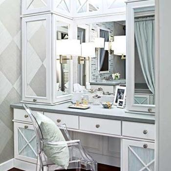 Traditional Home - bathrooms - vanity, make up vanity, built in vanity, built in make up vanity, ghost chair, diamond pattern wall, dressing room, dressing room ideas, Ghost Chair,