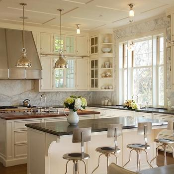 Cream Kitchen Cabinets, Transitional, kitchen, Farrow & Ball Slipper Satin, Giannetti Home