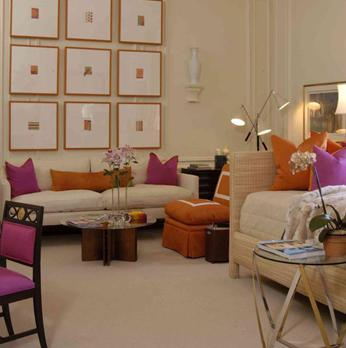 Traditional Home - living rooms - daybed, wicker daybed, orange accents, fuchsia accents, orange pillows, fuchsia pillows, orange chair, orange slipper chair,
