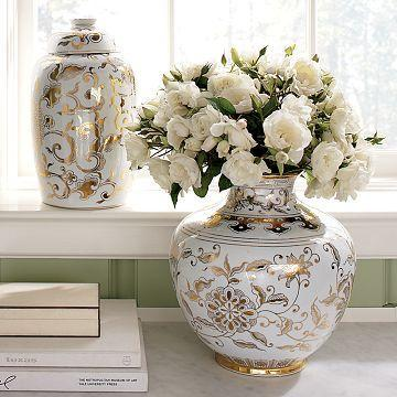 Williams Sonoma Home Gold Amp White Ginger Jars
