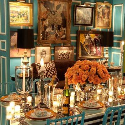 Turquoise Dining Room Eclectic Dining Room David Jimenez