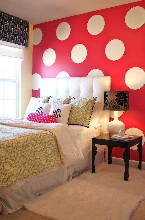 Emily A. Clark - girl's rooms - Valspar - Lemon Parfait - Polka dots, black & white, pink, white, tufted headboard, bed, green, damask, night table, glass lamp, cornice board, window treatment, roman shade, monogrammed pillows,