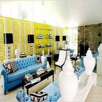 David Jimenez - living rooms - yellow and blue room, yellow and blue living room, blue chesterfield, blue chesterfield sofa, chesterfield sofa yellow walls, floor to ceiling mirrors, living room with floor to ceiling mirrors, floor to ceiling mirrors in living room, black lacquered coffee table, face to face sofas,