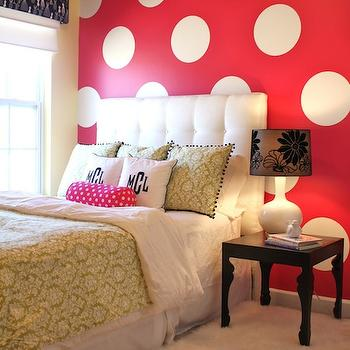 Emily A. Clark - girl's rooms - polka dots, polka dot wall, accent wall, white tufted headboard, girls room girls bedroom, damask bedding, green damask bedding, damask duvet, black bedside table, monogrammed shams, damask shams, green damask shams,