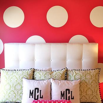 Emily A. Clark - girl's rooms - polka dots, polka dot wall, accent wall, white tufted headboard, girls room girls bedroom, damask bedding, green damask bedding, damask duvet, monogrammed shams, damask shams, green damask shams, monogrammed shams, hot pink bolster pillow,