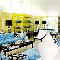 David Jimenez - living rooms - blue, tufted, chesterfield, sofa, black, coffee, table, silver, lamps, black, shades, yellow, wallpaper, white, ginger, jars, white, yellow, blue, living room, yellow and blue room, yellow and blue living room, blue chesterfield, blue chesterfield sofa, chesterfield sofa,