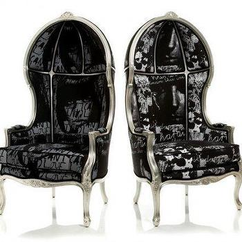 Seating - Decorati | CALLE CANOPY CHAIR (Awakening on Left / Masaya Saints on Rig by DESIGNLUSH - armchair, canopy chair, black, white, silver