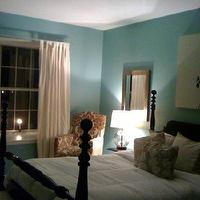bedrooms - blue walls, clear lamp, black bed, bench, mirrors, window ledge, window seat, do it yourself, DIY, thrift store finds, painting wood, headboard, footboard, light, white bedding, tiffany blue, tiffany blue walls, tiffany blue bedroom, tiffany blue paint, tiffany blue paint colors, tiffany blue room, tiffany blue laundry room, tiffany blue walls, tiffany blue paint, tiffany blue paint color, tiffany blue wall paint, Ikea Audrey Hepburn,