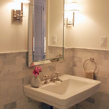 Anne Chessin Designs - bathrooms - white carrera marble subway tiles, white carrera marble backsplash, pedestal sink, beaded mirror, beveled mirror, beaded beveled mirror, beaded bathroom mirror, White Carrara Marble Tiles, Channing Mirror,