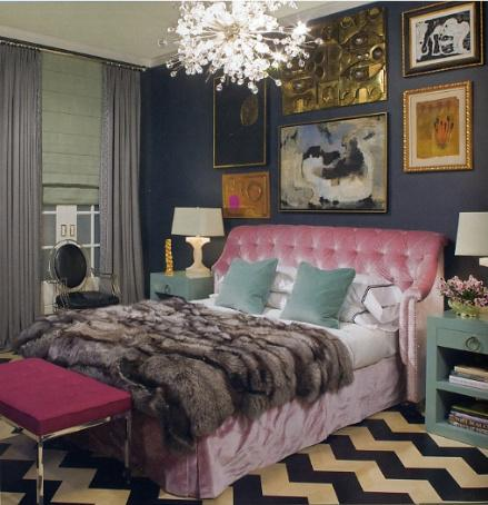 Bubbles Glass Chandelier blue pink zigzag chevron rug blue velvet pillows blue nightstands pink tufted velvet headboard pink tufted bench blue walls gray silk drapes