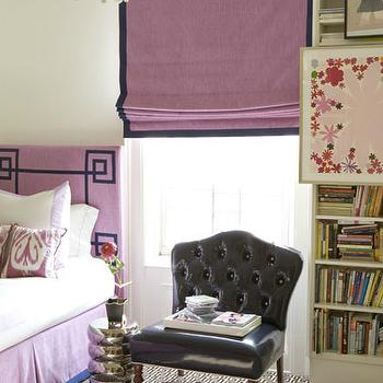 Amanda Nisbet Design - girl's rooms - greek key headboard, girls headboard, purple headboard, purple greek key headboard, purple bed skirt, pink ikat pillows, purple ikat pillows, purple roman shade, patent leather chair, black patent leather chair,