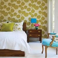 House & Home - bedrooms - green, wallpaper, turquoise, blue, chair,  green metallic wallpaper and turquoise blue chair.