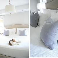 Aubrey & Lindsay - bedrooms - colette headboard, crate and barrel headboards, crate and barrel beds, lavender pillows, meurice pendant, Meurice Pendant, Ikea Pillow,
