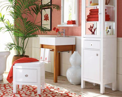 bathrooms - coral white natural wood  WSH   bright cheery bathroom