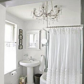 Ruffled Shower Curtain, Cottage, bathroom, The Lettered Cottage