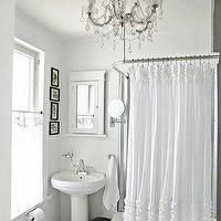 The Lettered Cottage - bathrooms - ruffle shower curtain, white ruffle shower curtain, ruffled shower curtain, white ruffled shower curtain, cottage bathroom, white cottage bathroom, white medicine cabinet, framed medicine cabinet, pedestal sink, Prom Night Shower Curtain,
