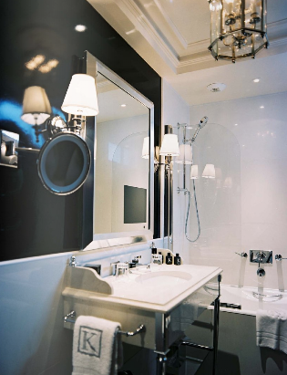 Lonny Magazine - bathrooms - black walls, black and white bathroom ...