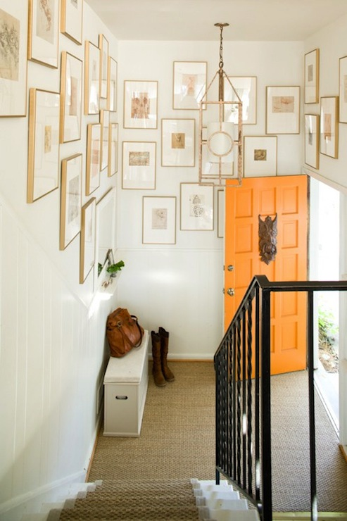 entrances/foyers - orange door photo walls beadboard lantern  Pure Style Home's   eclectic art gallery and orange front door