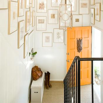 Orange Front Door, Transitional, entrance/foyer, Lauren Liess Interiors