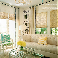 Lonny Magazine - living rooms: white, faux bamboo, chair, green, cushion, silver, faux, bamboo, nesting, tables, turquoise, pillow, silver, gourd, lamp, ivory, beige, cotton, drapes, black, ribbon, border, trim, sisal, rug, bamboo, roman, shades, soft sand beige walls, chesterfield sofa, white chesterfield sofa,
