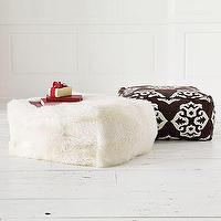 Seating - Sheepskin Pouf | west elm - pouf, floor pillow, sheepskin, ikat