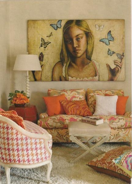 Gina Kates: tween room  pink & orange houndstooth fabric chairs, flokati rug and art.