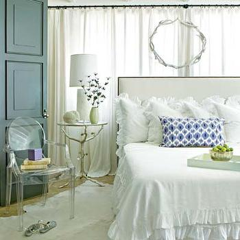 My Home Ideas - bedrooms - ruffle bedding, white ruffle bedding, ruffled bedding, white ruffled bedding, ruffle shams, white ruffle shams, ruffled shams, white ruffled shams, , ruffled bed skirt, white ruffled bedskirt, sherwood table, branch side table, branch table, silver branch table, ghost chair, white cowhide rug, nailhead headboard, curtains behind bed, , Arteriors Sherwood Table,