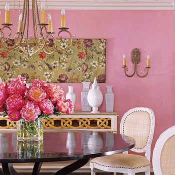 House Beautiful - entrances/foyers - pink walls, french chair, pink dining room, pink wall paint, pink paint colors, glidden pinks, glidden pink colors, glidden pink paint colors, burlap dining chairs, round back dining chairs, round dining table, black dining table,