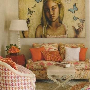 M J Berries Design - girl's rooms - tween room, great art, orange pops of colors, pops of orange, patterned sofa, houndstooth chair, pink and orange chair, pink houndstooth chair,
